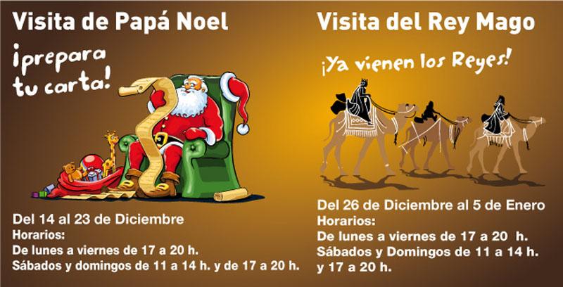 Visita de Papá Noel y un Rey Mago