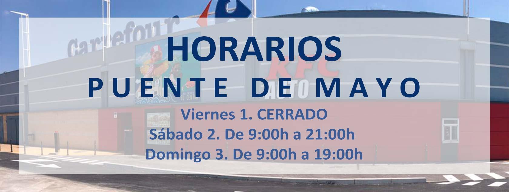 Horarios Puente de Mayo 2020 en CC El Ferial (Parla)